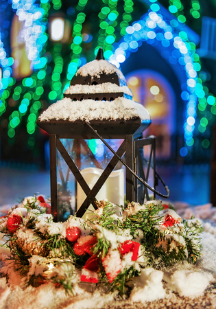 christmas market: Lantern composition on the Snowy Christmas Market in Vilnius, Lithuania.