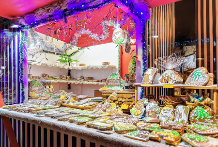 which one: One of the most traditional sweet treats which are gingerbreads pictured in Christmas Market in Riga, Latvia. They can be found in different sizes and icing.