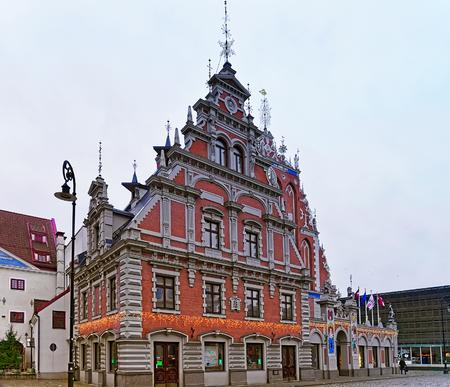 Riga, Latvia - December 25, 2015: House of the Blackheads during the Christmas season in Riga, Latvia. Selective focus