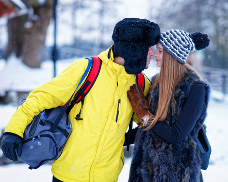 fellow: Young girl and fellow in winter in Trakai of Lithuania. Stock Photo
