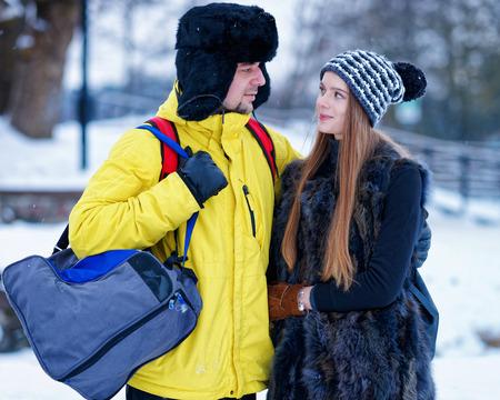 fellow: Young girl and fellow in winter in Trakai, Lithuania.