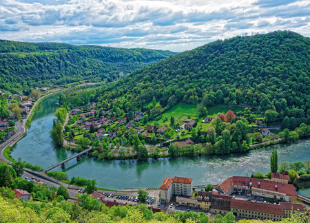central european: Aerial view of the old city from the citadel in Besancon of Bourgogne Franche Comte region in France. Stock Photo