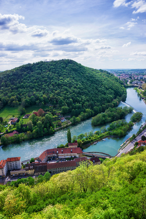Aerial view on the old city from the citadel in Besancon, Bourgogne Franche Comte region in France.