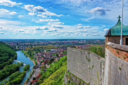 Aerial view on the old city and tower of the citadel in Besancon in Bourgogne Franche Comte region in France. Stock Photo