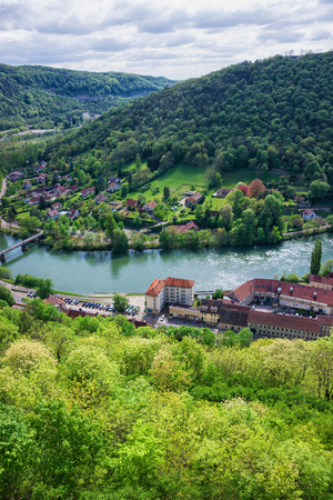 Aerial view on the old city from the citadel in Besancon of Bourgogne Franche Comte region in France. Stock Photo