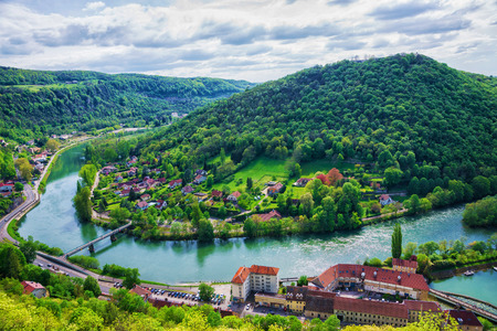 Aerial view to the old city from the citadel in Besancon of Bourgogne Franche Comte region in France.