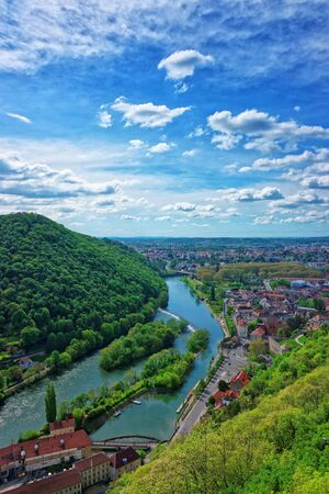 Aerial view to the old city from the citadel in Besancon, Bourgogne Franche Comte region in France. Stock Photo