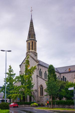 vevey: Vevey, Switzerland - August 24, 2013: Catholic Church in the city center of luxurious resort Vevey, Vaud canton of Switzerland.