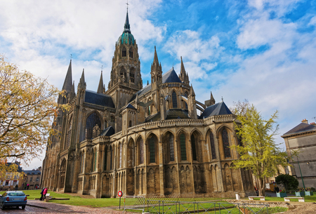Cathedral of Our Lady of Bayeux, Calvados department of Normandy, France. People on the background Stock Photo