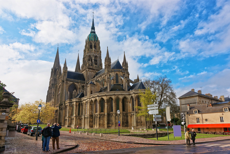 Bayeux, France - May 8, 2012: Cathedral of Our Lady of Bayeux at Calvados department of Normandy, France. People on the background Editorial