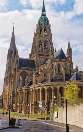 normandy: Cathedral of Our Lady of Bayeux in Calvados department of Normandy, France. People on the background Stock Photo