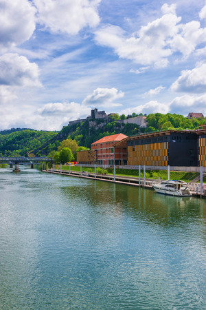 Besancon citadel and Doubs river, Bourgogne Franche Comte region in France. Stock Photo