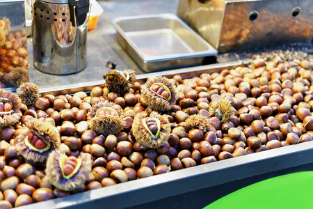 Chestnuts at Myeongdong open street market in Seoul, South Korea