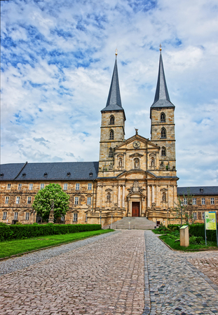 st german: Church of Saint Michael of Bamberg in Upper Franconia in Germany. It is also called Michaelskirche. It is placed on the top of the hill Stock Photo