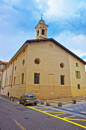Church of St Rocco in the city center of luxurious resort Lugano in Ticino canton in Switzerland.