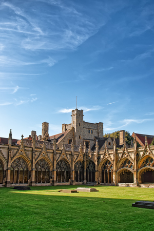 Cloister Garden in Canterbury Cathedral in Canterbury in Kent in the UK. It is one of the most famous cathedrals in England. It is the Archbishop of Canterbury Cathedral.