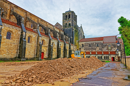 Construction works at Vezelay Abbey in Avallon of Yonne department in Bourgogne Franche Comte region, France Stock Photo