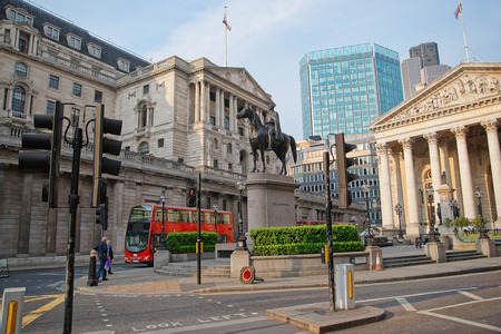 Duke Wellington statue, Royal Exchange and Bank of England in the City of London in England. People on the background Stock Photo