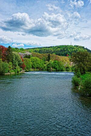 Doubs river in Bourgogne Franche Comte region in France. Stock Photo