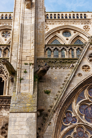 Fragment of Cathedral of Our Lady of Bayeux in Calvados department of Normandy, France.