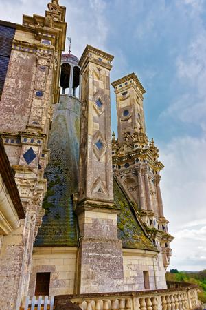 the loire: Fragment of Chateau de Chambord palace, Eure et Loir department at Loire valley region, France.