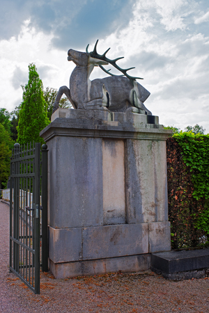 Deer Staue of Entrance gate at Lichtentaler Allee park in Baden-Baden, Baden-Wurttemberg in Germany. Baden Baden is a spa town.