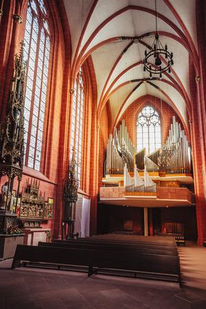 st german: Frankfurt am Main, Germany - April 29, 2012: Interior of St Bartholomew Cathedral in Frankfurt am Main in Germany, or Frankfurter Dom