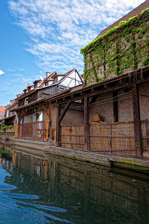 haut rhin: Little Venice quarter from the  River Auch canal in Colmar, Haut Rhin at Alsace, France. Stock Photo