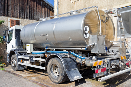 Evillers, France - August 31, 2016: Liquid storage tank car for the milk at the dairy for the production of Gruyere de Comte Cheese, in Franche Comte, Burgundy, France. Editorial