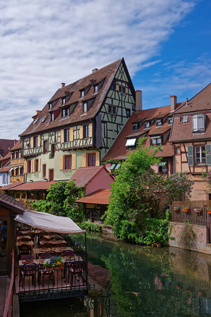 haut rhin: Little Venice quarter and River Auch in Colmar, Haut Rhin of Alsace, of France. Stock Photo