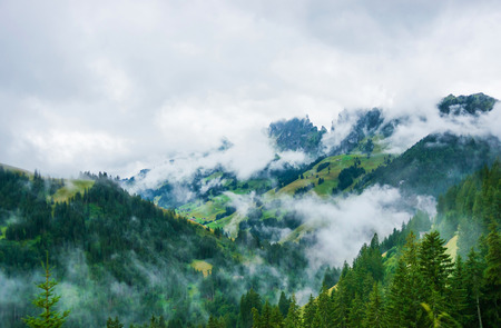 Nature of Swiss Alps at Jaun Pass in Fribourg canton of Switzerland. Standard-Bild