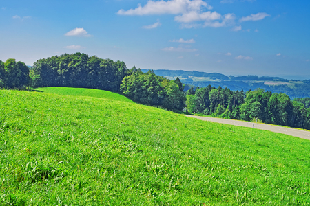 Nature of Village in Turbenthal with Swiss Alps at Winterthur district, Zurich canton of Switzerland. Stock Photo