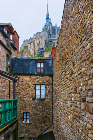mont saint michel: Mont Saint Michel in Normandy region of Manche department in France. View from the island Stock Photo