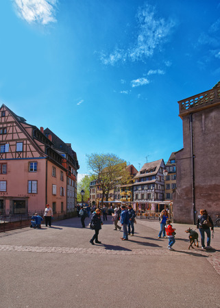 the little venice: Colmar, France - May 1, 2012: Old city center at Place de Ancienne Douane Square in Colmar, Haut Rhin in Alsace, France. People on the background Editorial