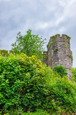 brecon beacons: Old castle in Brecon town at Brecknockshire, in Brecon Beacons of Mid Wales. It is a chain of mountains in the UK.