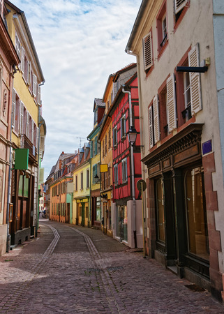 haut rhin: Colorful half-timbered houses in the old town in Colmar, Haut Rhin at Alsace, France. Stock Photo