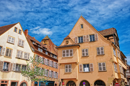 haut rhin: Colorful half-timbered houses in the old town in Colmar, Haut Rhin in Alsace, France. Stock Photo