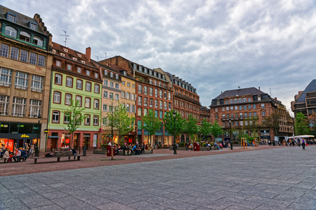 Strasbourg, France - April 30, 2012: Place Kleber Square in the historic center, or Grande Ile in Strasbourg in Grand East region, of France. People on the background Editorial