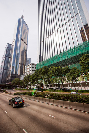 hong kong island: Road traffic and Skyscrapers in Hong Kong Island. People on the background