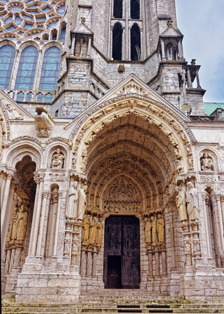 Portal of Cathedral of Our Lady of Chartres in Chartres in Eure et Loir department of Loire Valley, in France.
