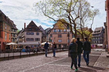 haut rhin: Colmar, France - May 1, 2012: Old city center at Place de Ancienne Douane Square with Schwendi fountain in the Old city center of Colmar, Haut Rhin in Alsace, in France. People on the background