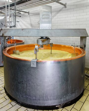 creamery: Processing of Gruyere de Comte Cheese in the dairy in Franche Comte, Burgundy, in France.