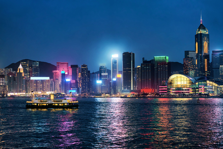 Skyline at Victoria Harbor of Hong Kong. View from Kowloon on HK Island.