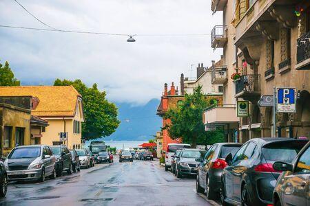 vevey: Vevey, Switzerland - August 24, 2013: Street in the city center of luxurious resort Vevey, Vaud canton of Switzerland. Editorial