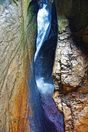 Trummelbach falls, waterfall in the mountain, Lauterbrunnen valley, District of Interlaken, canton of Bern, Switzerland.