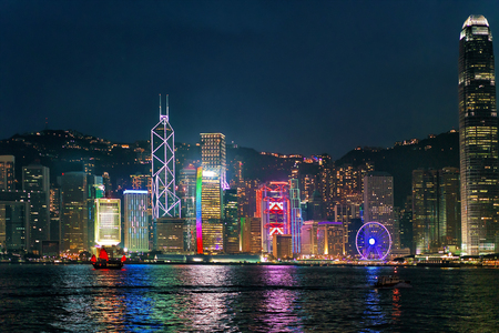 Skyline on Victoria Harbor, in Hong Kong. View from Kowloon on HK Island. Stock Photo