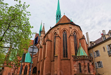 protestant: Young Saint Peter Church, or Saint-Pierre-le-Jeune Protestant Church in the city historic center Grand Ile of Strasbourg in France Stock Photo