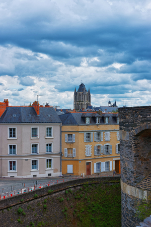 Street top view and tower of Saint Aubin Abbey in Angers in Maine et Loire department of Pays de la Loire region, Loire Valley, in France. Stock Photo