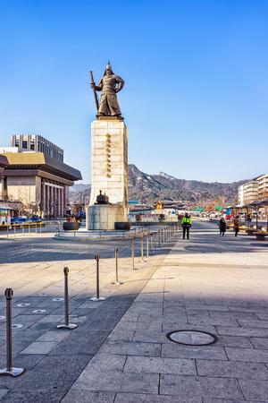 Seoul, South Korea - March 11, 2016: Statue of Admiral Yi Sunsin in Gwanghwamun plaza in Seoul, South Korea. People in the street Editorial