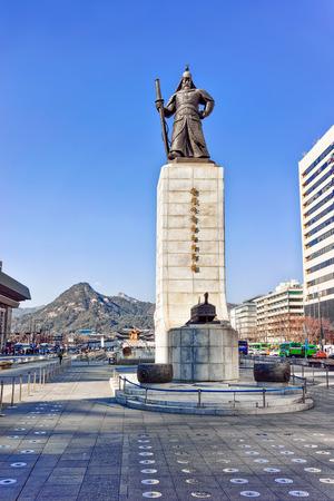 Seoul, South Korea - March 11, 2016: Statue of Admiral Yi Sunsin on Gwanghwamun plaza in Seoul, South Korea. People in the street